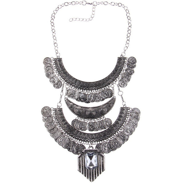 Long Tassel Antique Coin Necklace