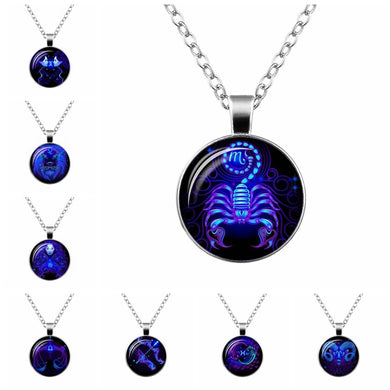 Zodiac Sign Glass Cabochon Pendant Necklace For Women Men