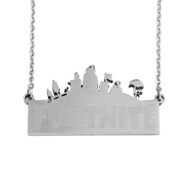 Fortnite Battle Royal Logo Pendants with Silver Stainless Steel Men Women Souvenir Keyring Choker