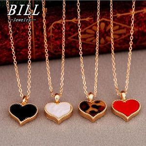 Vintage 3 colors Heart Pendants Necklace Chain For Women