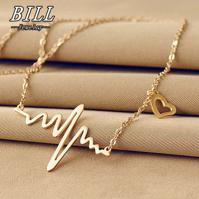 ECG Heart Clavicle Choker Pendant Necklaces