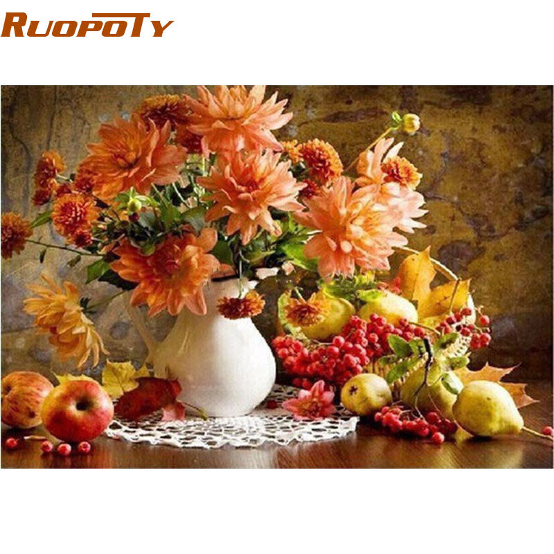 DIY Painting By Numbers Flowers & Fruits