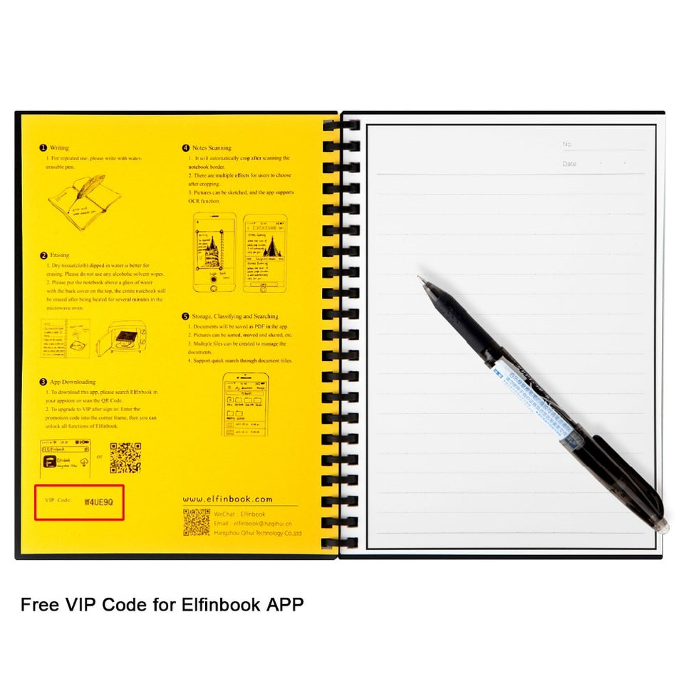 Smart Reusable Erasable Notebook With Pen