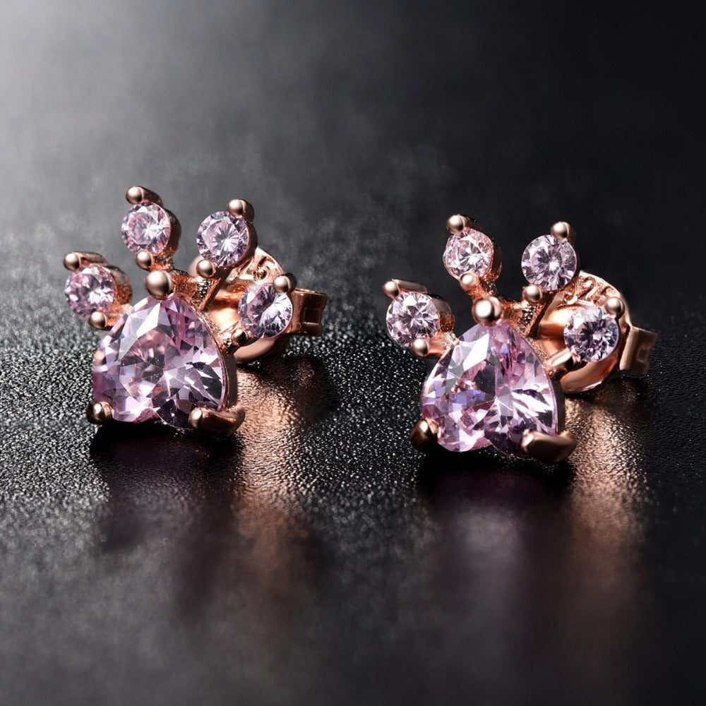 Rose Gold Plated Shiny Pink Dog Paw Stud Earring