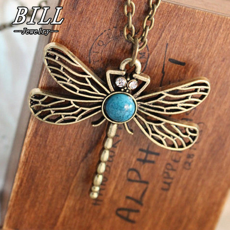 Hollow Dragonfly Pendants Necklaces