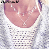 New Fashion Double Horn Necklace Crescent Moon