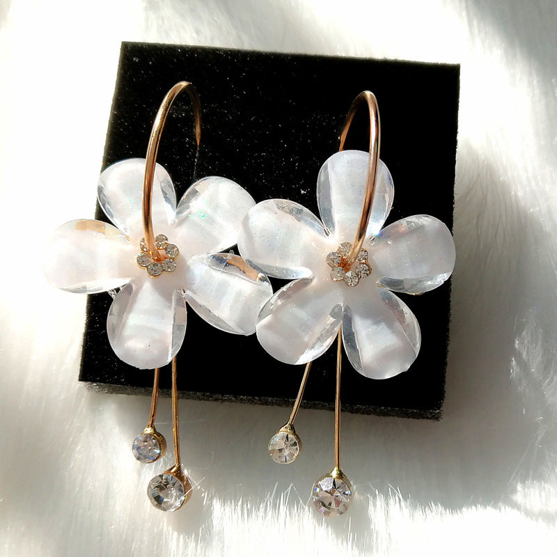 5 Petal Acrylic Zircon Tassel Earrings