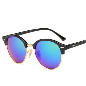 Hot Rays Rivet Frame Colorful Coating Shades Sunglasses