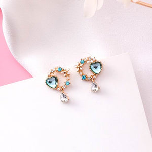 Crystal Love Heart Sweet Bowknot Drop Earrings