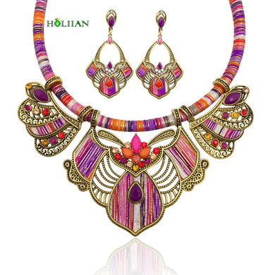 Women bohemia multicolor statement choker necklace