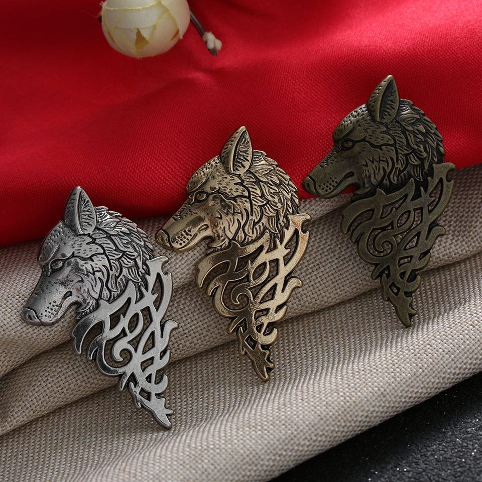 Charming Vintage Men Punk Wolf Badge Brooch Lapel Pin