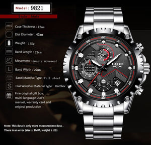 Waterproof Steel Watch with Quartz Clock