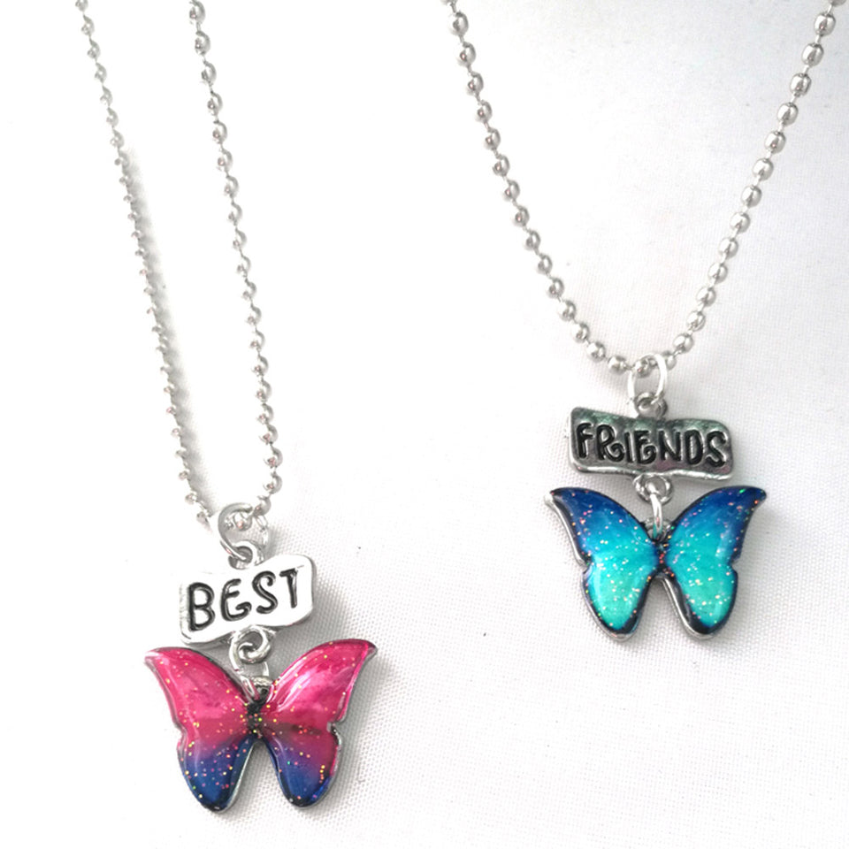 2Pcs Best Friends  Butterfly Pendant Necklaces Friendship  Jewelry