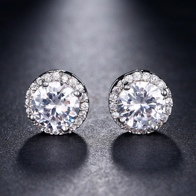 Silver-color Gold CZ Stone Pierced Round Shape Stud Earring