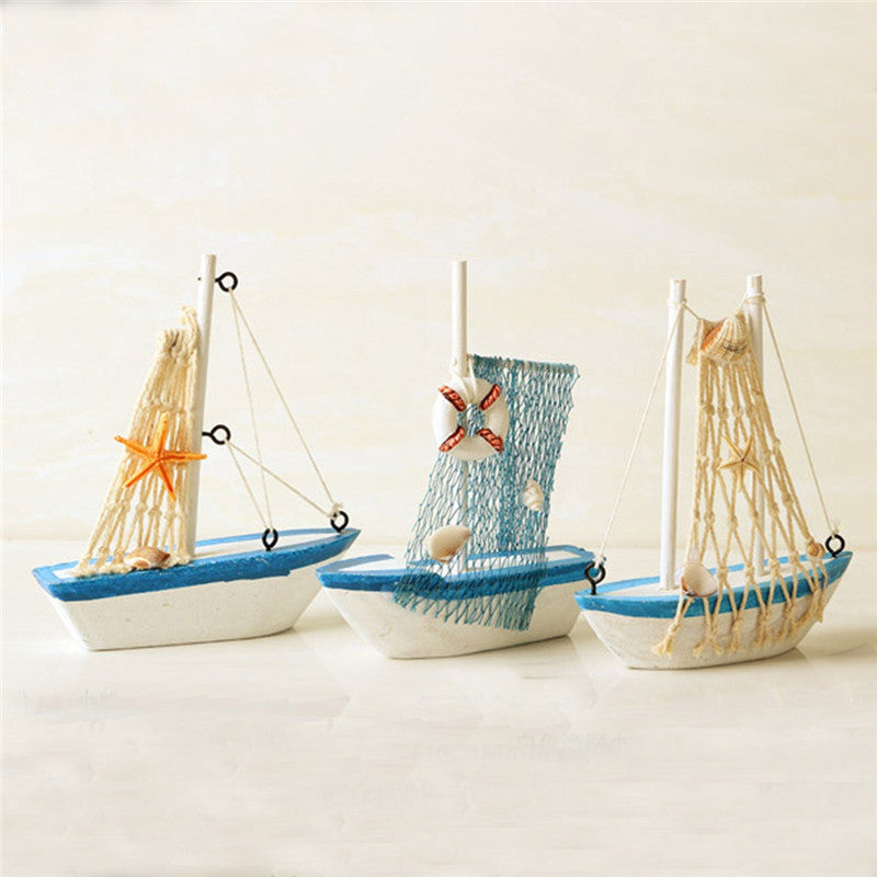 Mediterranean Style Marine Nautical Wooden Blue Sailing Boat Wood Crafts