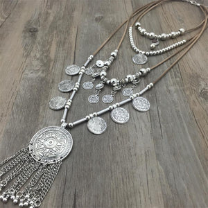 Handmade India Silver Coin Pendants Long String Leather