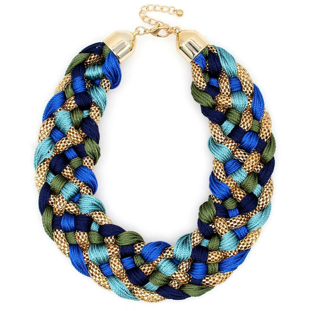 Weaved Handmade Big  Chunky Chain Choker Wide Maxi Collar Statement Necklaces