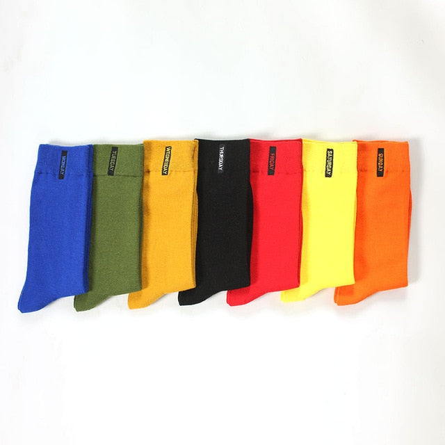 7 Pairs Color Fashion Cotton Socks for Gentlemen