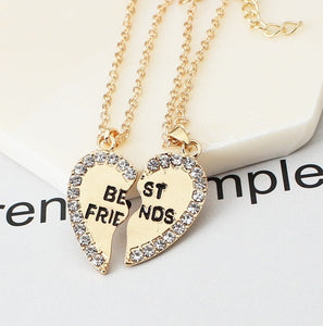 2Pcs/Pair Best friend necklace 2 in 1 gold silver heart statement pendant