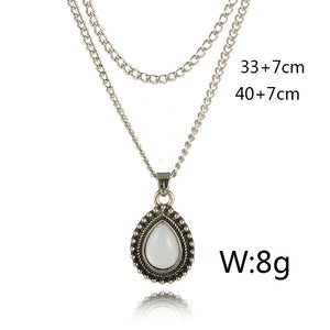 Opal Stone  Fashion Double Layer Chain Pendant Quartz Necklace