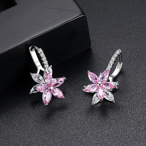 Clear Stone Flower Shape Copper Cubic Zirconia Stud Earring