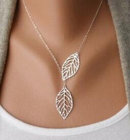 Vintage Punk Gold Hollow Two Leaf Leaves Pendant  Chain Charm Jewelry