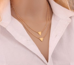 Gold Color 3 Layer Chain with Hollow Out Triangle Long Pendant Necklaces