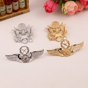 Personalized Retro Vest Double - Headed Eagle Badge Men 's Suit Brooch