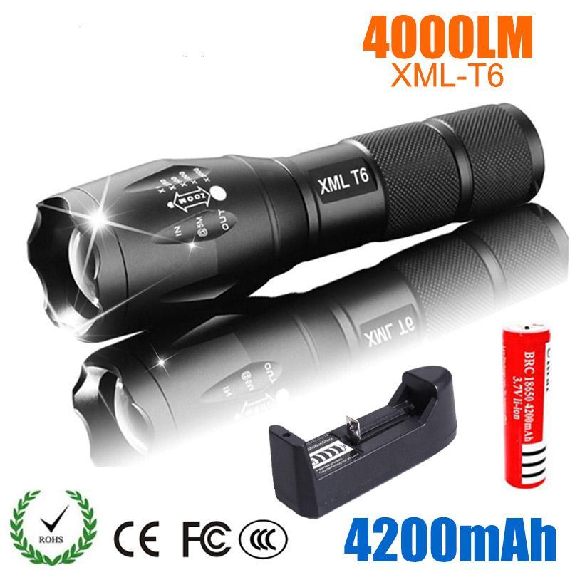 LED Rechargeable Flashlight 4000 lumens 18650 Battery