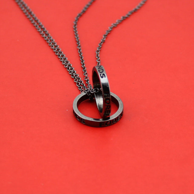 Hot Gold Black Tone 1Set Best Friend Forever Round Pendant Necklace