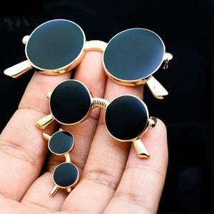 Men Black Eyeglasses brooch Cute Sunglass Brooch Gold Color Corsages Pins