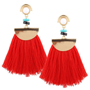 Gold Color Dangle Long Maxi Tassel Earrings