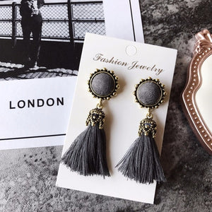 Vintage Velvet Ball Statement Fringed Drop Earring