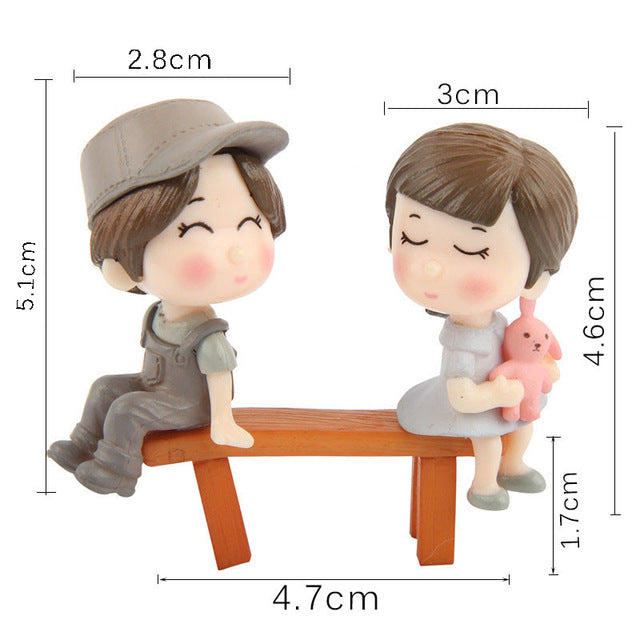 1 set Lovers Couple Chair Figurines Miniature Resin Crafts Home Decoration