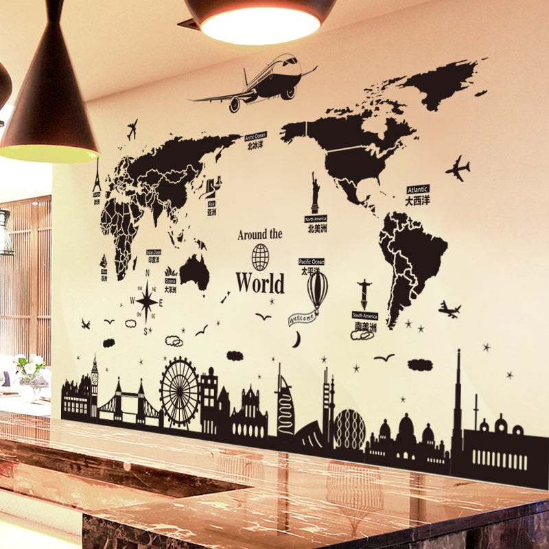World Map Wall Stickers DIY Wall Art for Living Room Company School Office Decoration
