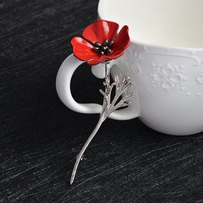 Red Poppy Flower Brooch Pins Large Brooches for Women Men Suit