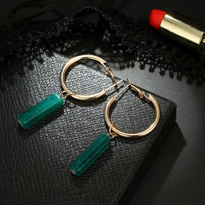 Green Acrylic Bar Drop Earring with Gold Color Circle Round Dangle