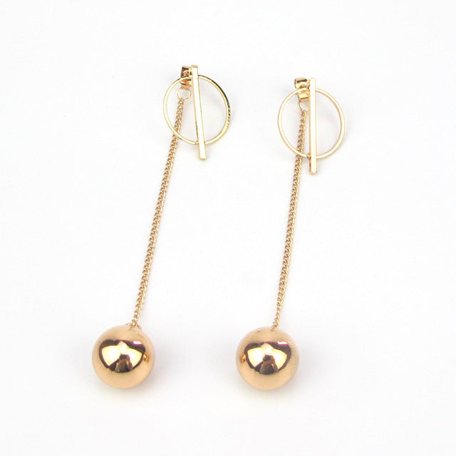 Gold Color Alloy Round Drop Bar Punk Long Tassel Dangle Earring