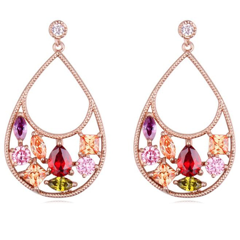 Zircona Water Drop Big Hook Ethnic Dangle Earring