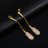 Vintage Real Austrian Crystal Bar Dangle Stick Earring