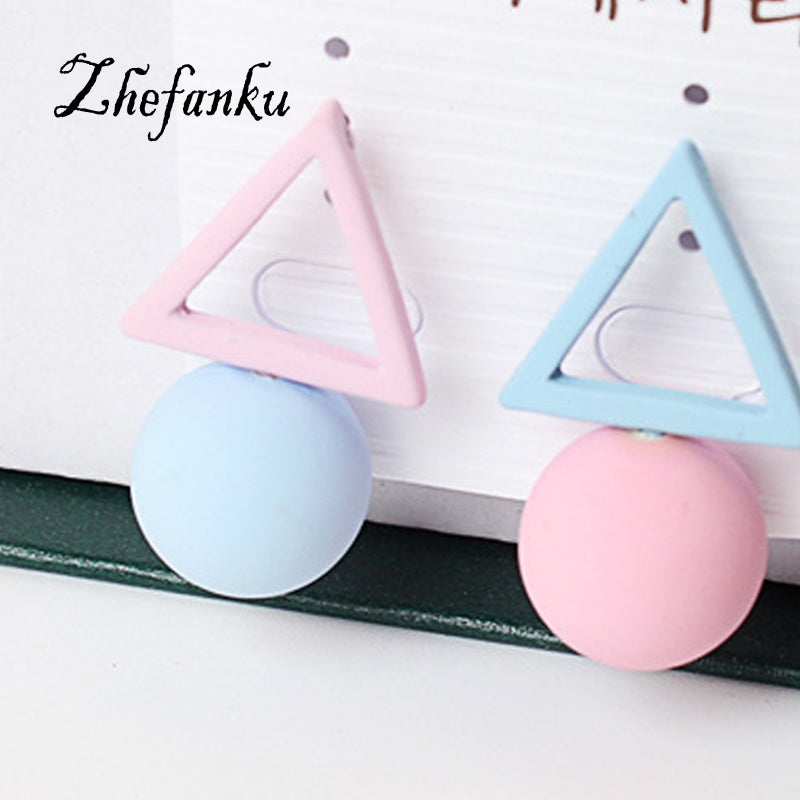 Candy Color 1Pair Triangle Stud Earring