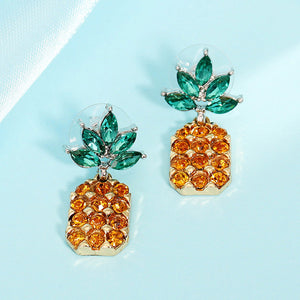 Elegant Rhinestone Pineapple Stud Earrings With Crystal Green Leaf