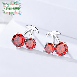 Sterling 925 Silver Earrings with Zircon Red Cherry Crystal Stud