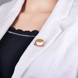 White Enamel Gold Color Brooch Pins Coffee Cup Spoon Disc Shape Brooch