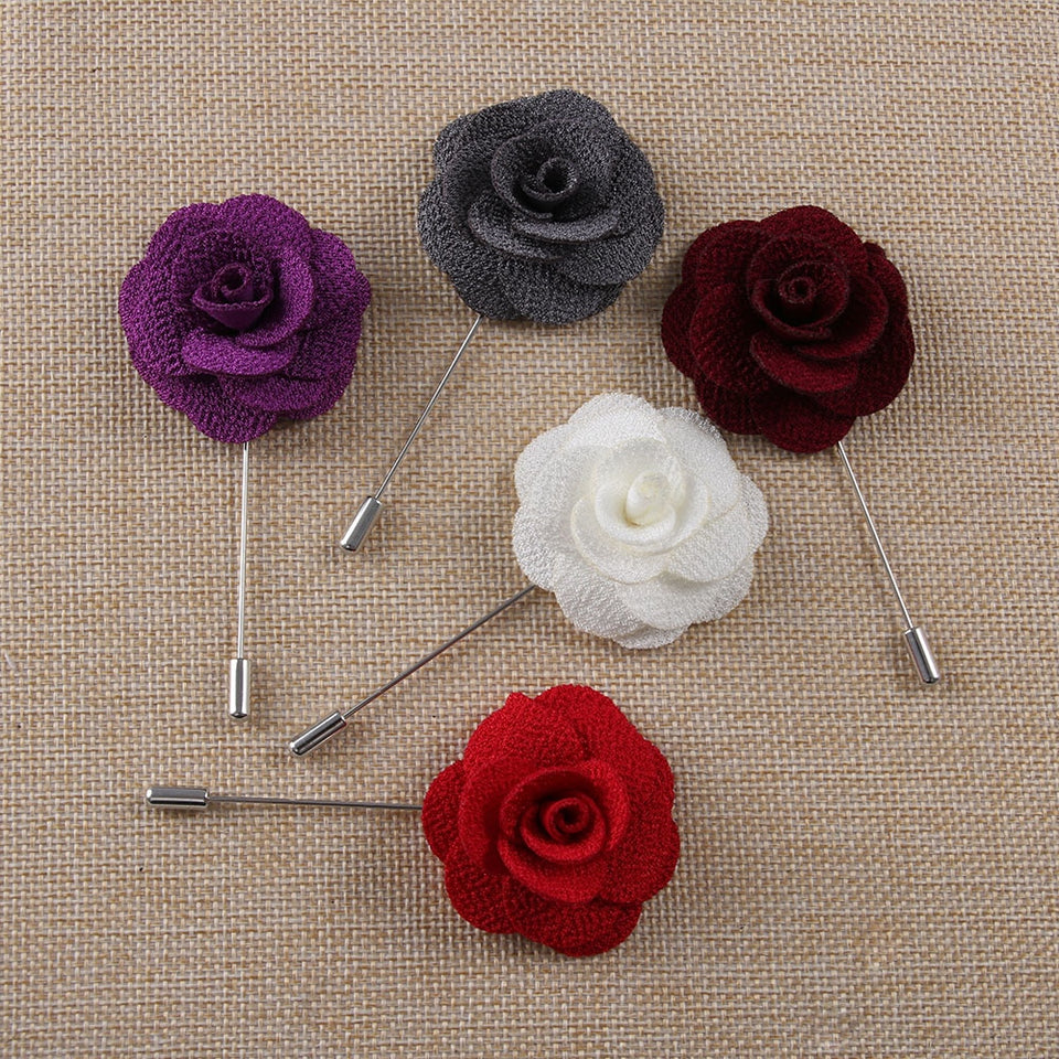 Handmade Flower Brooch Pin Badge Fabric Camellia Flower Lapel X Accessories For Shirt Collar Men's Suit