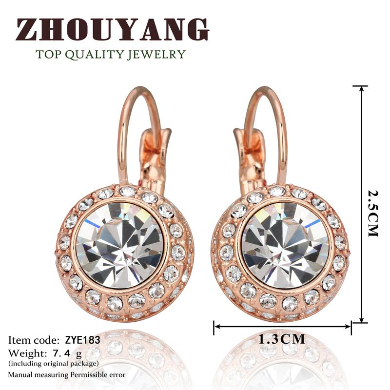 White Moon River Rose Gold Color Austrian Crystal Stud Earring