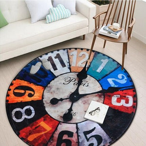 Vintage Wall Clock Printed Round Carpet