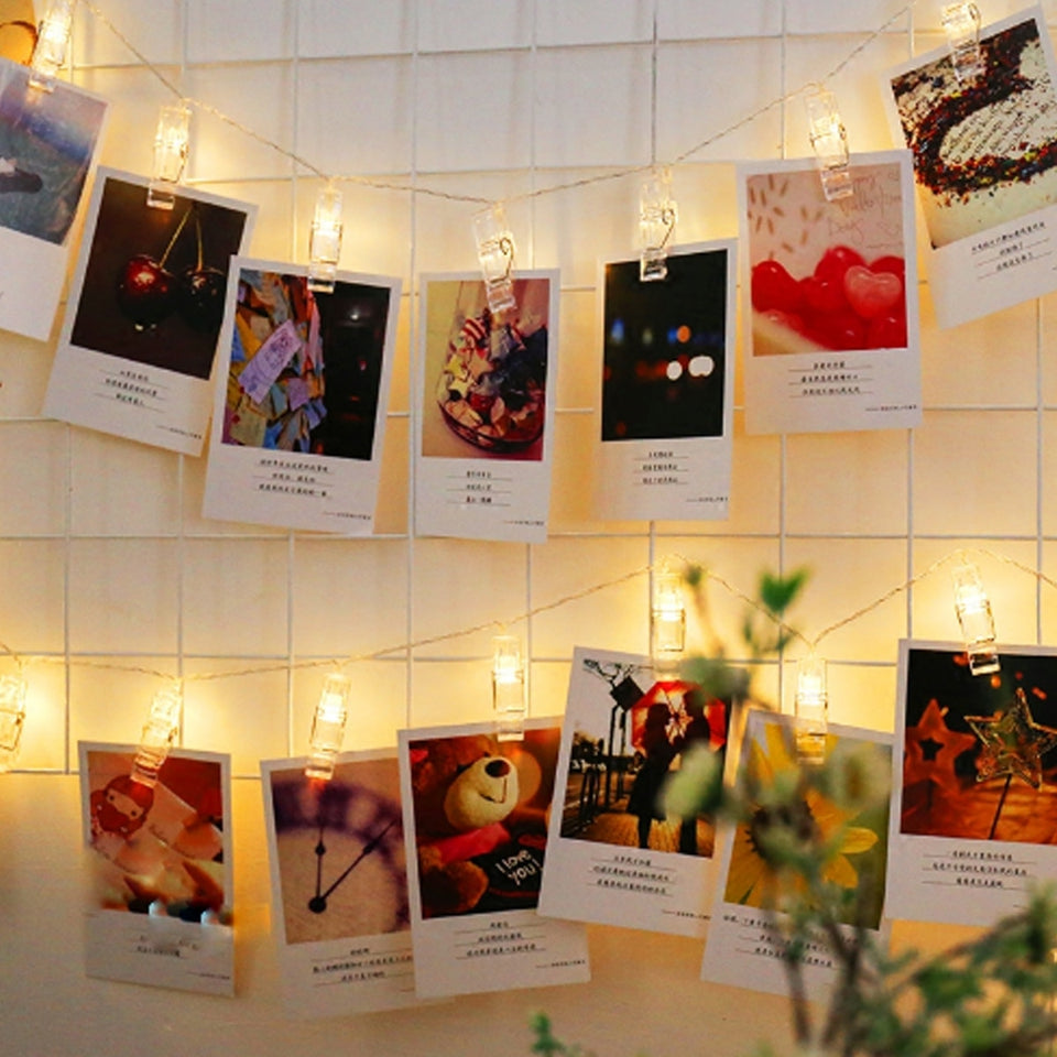 1.5/2/3M LED Garland Card Photo Clip Led String Fairy Lights Battery Operated