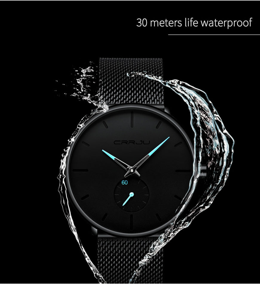 Casual Slim Mesh Steel Waterproof Sport Luxury Quartz Watch