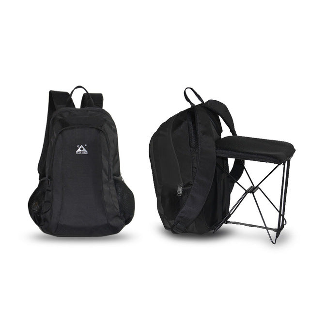 47L Camping Travel Backpack with Folding Chair for Outdoor Hiking Fishing